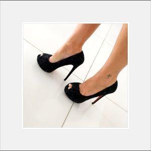 Shoes - Black Rhine stone platform shoes size 6 euro 36